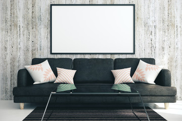Modern living room with blank poster