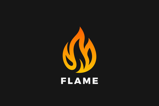 Fire Logo Flame design vector template. Burning Campfire Drop Droplet shape Logotype concept ico