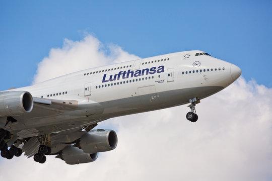 Chicago, USA - September 14, 2018: A Lufthansa Boeing 747-800 landing at O'Hare International Airport.