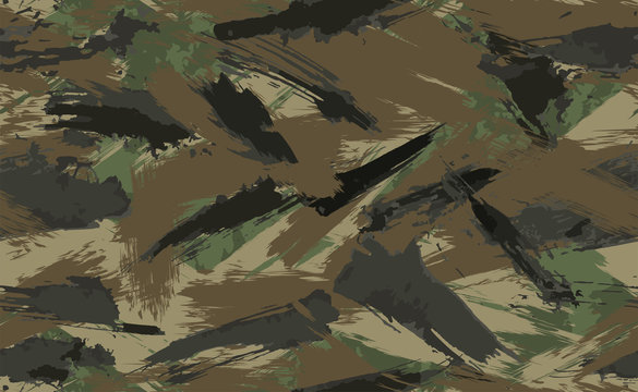 Seamless Brush Stroke Camouflage print. Vector pattern Green brown black olive colors forest texture. Fabric and fashion textile paint. Camouflage pattern background. Vector Seamless Camouflage