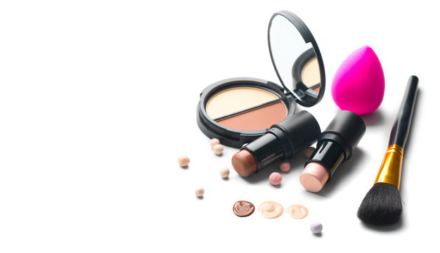Make-up. Face contouring make up, contour. Highlight, shade, blend. Makeup Products, make up artist tools. Foundation, concealer. Trendy glamour makeover product set, isolated on white background