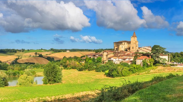 Summer landscape - view of the village of Lavardens, in the historical province Gascony, the region of Occitanie of southwestern France