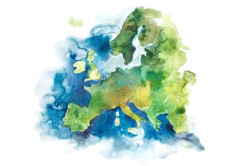 Map of Europe, European Union. Watercolor illustration.