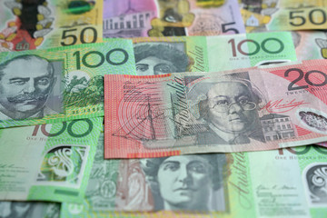 Australian (AUD) currency, bank notes of various denominations.