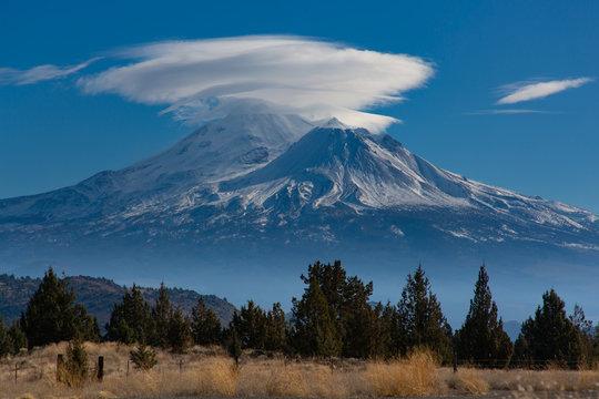 Lenticular Cloud over Mount Shasta, California