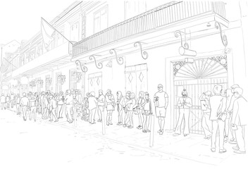 Hand drawn illustration. At the famous Preservation Hall landmark in New Orleans, Louisiana, people wait in line to see live Jazz music.