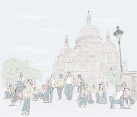 Hand drawn illustration. At the Sacre Coeur Cathedral in Paris, people sit on the steps and enjoy the day.