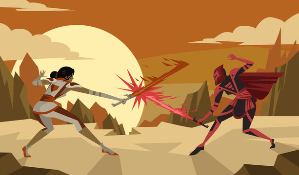 science fiction female knights duel with plasma swords