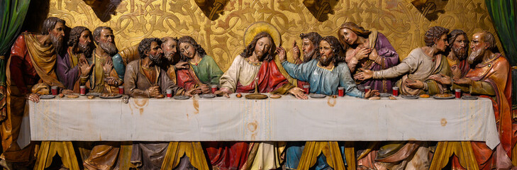 Bratislava, Slovakia. 2019/11/4. A sculpture of the Last Supper according to the painting by Leonardo da Vinci. St Martin's Cathedral, Bratislava