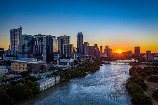 Aerial image of Austin texas skyline at sunrise