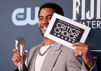 """25th Critics Choice Awards – Photo Room– Santa Monica, California, U.S., January 12, 2020 - Jharrel Jerome poses backstage with his Best Actor in a Movie / Limited Series award for """"When They See Us\"""