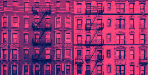 New York City historic apartment building panoramic exterior view in blue and pink color overlay Wall mural