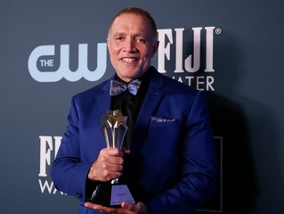 """25th Critics Choice Awards – Photo Room– Santa Monica, California, U.S., January 12, 2020 - Michael Abels poses backstage with the Best Sci-Fi or Horror Movie award for """"Us\"""