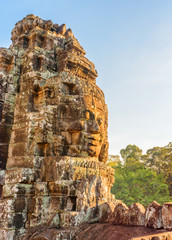 Fototapete - Gorgeous view of giant stone face of Bayon temple, Angkor
