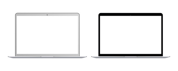 Set of realistic black and white Laptop with blank screen isolated on white background. Realistic laptop notebook with empty screen. blank copy space