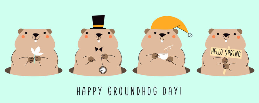 Happy Groundhog Day. Card with four cute groundhogs. Design for print greetings card, banner, poster. Vector illustrations.