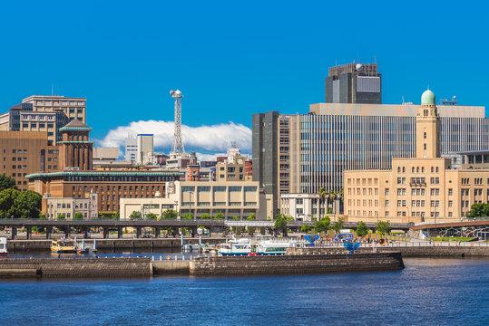 skyline of yokohama harbor in japan