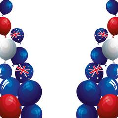 set balloons helium with flag australia vector illustration design