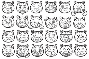 cute and funny pet animal cat emoticons outline illustration set