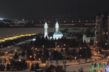 Mosque and night city. Kazan, Russia