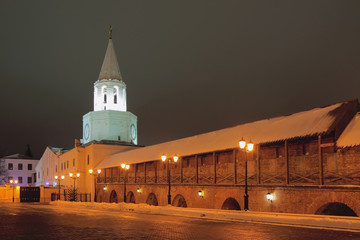 Tower and wall of ancient fortress. Kazan, Russia