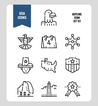 American icon set 3. Include Eagle sign, USA map, Landscape and more. Filled Outline icons Design. vector