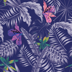 Wall Mural - Trendy blue style tropical illustration