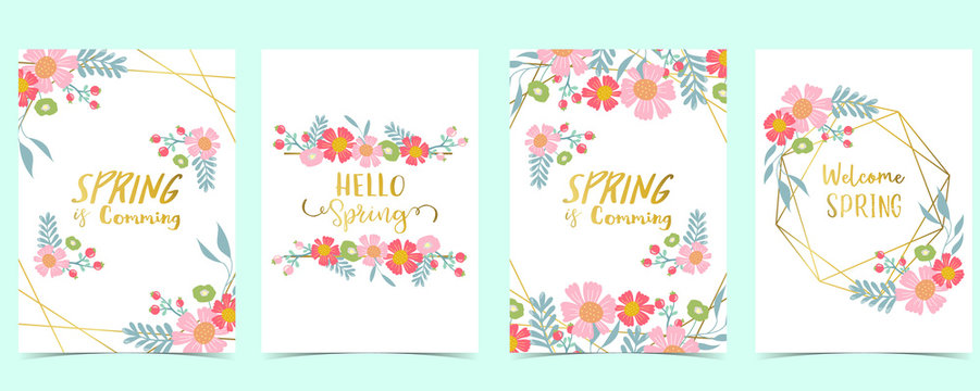 Collection of spring background set with pink flower, green leaves,geometric.Editable vector illustration for website, invitation,postcard and sticker.Include wording welcome spring, hello spring