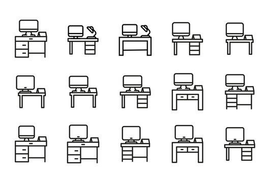 Simple set of desk modern thin line icons.