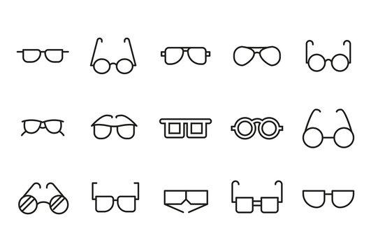 Premium set of glasses line icons.