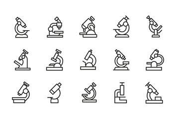 Simple set of microscope modern thin line icons.