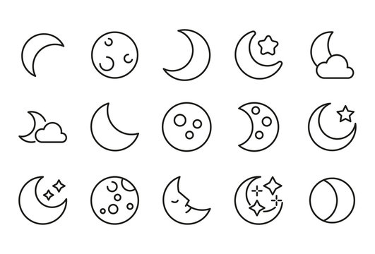 Vector line icons collection of moon.