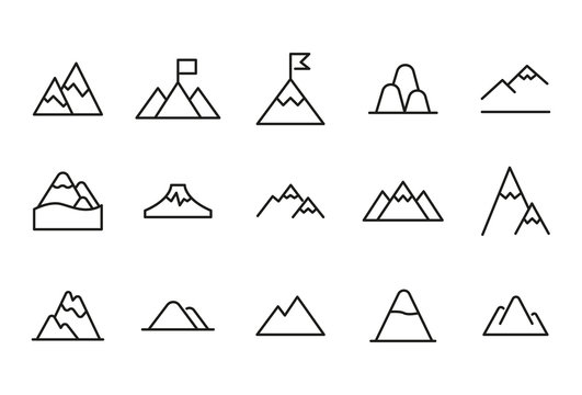 Vector line icons collection of mountain
