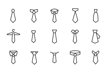 Simple set of necktie modern thin line icons.