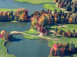 Photo sur Toile Olive vue aérienne du golf d'Ivry-la-Bataille dans l'Eure en France