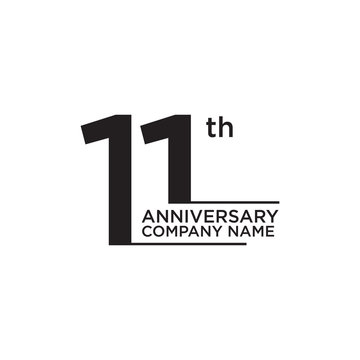 11th year anniversary logo design vector template