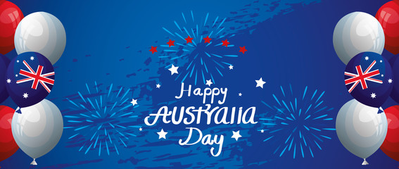 happy australia day with balloons helium decoration vector illustration design