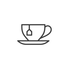 Tea cup with tea bag line icon. linear style sign for mobile concept and web design. Herbal tea cup with saucer outline vector icon. Symbol, logo illustration. Vector graphics