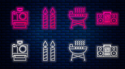 Set line Birthday cake candles , Barbecue grill , Photo camera and Home stereo with two speakers . Glowing neon icon on brick wall. Vector