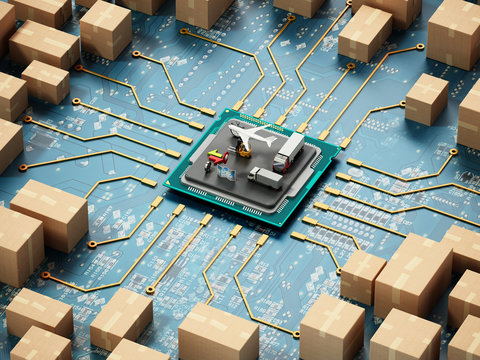 Large group of cardboard boxes connected to microchip. 3D illustration