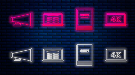 Set line Buy cinema ticket online , Scenario , Megaphone and Laptop screen with 4k video technology . Glowing neon icon on brick wall. Vector