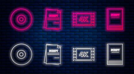 Set line Scenario , 4k movie, tape, frame , CD or DVD disk and Scenario . Glowing neon icon on brick wall. Vector