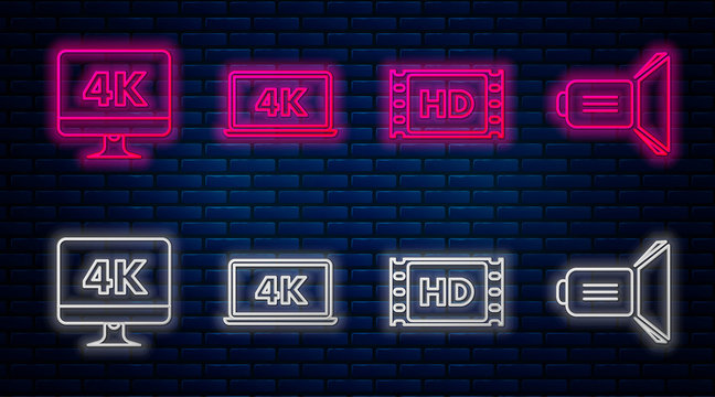 Set line Laptop screen with 4k video technology , 4k movie, tape, frame , Computer PC monitor with 4k video technology and Movie spotlight . Glowing neon icon on brick wall. Vector