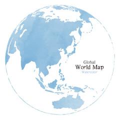 水彩風のおしゃれな世界地図、地球