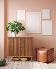 Mock up poster in rustic home interior background, 3D render