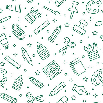Stationery background, school tools seamless pattern. Art education wallpaper with line icons of pencil, pen, paintbrush, palette, notebook. Painter supplies vector illustration green white color