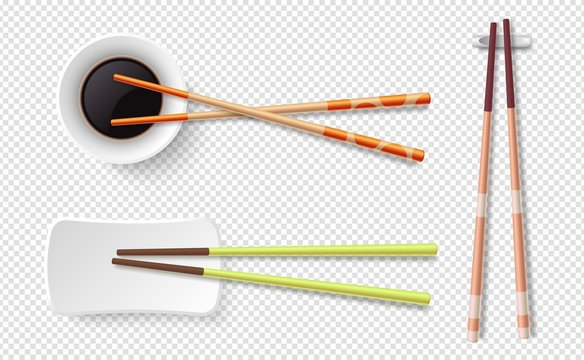 Chopsticks. Colorful wooden sushi sticks, plate with soy sauce. Asian food utensils isolated on transparent background. Japanese, chinese vector set. Japanese chopstick for sushi illustration