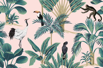 Tropical vintage botanical wild animal crane, parrot, toucan, monkey floral palm tree seamless pattern pink background. Exotic jungle wallpaper.