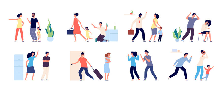Family abuse. Angry people scolding, fight and suffering. Quarrel and violence, disregard feelings. Conflict relationships vector concept. Illustration woman and man quarrel, wife and husband with kid