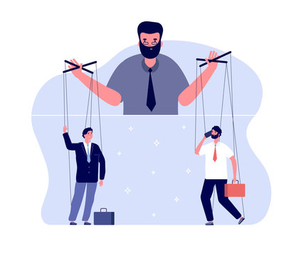 Master of puppets. Political controlling, business boss and workers. Team control and marionettes. Vector puppeteer leads people concept. Illustration control puppet and master manipulation